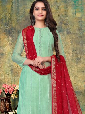 Embroidered Chanderi Pant Style Suit