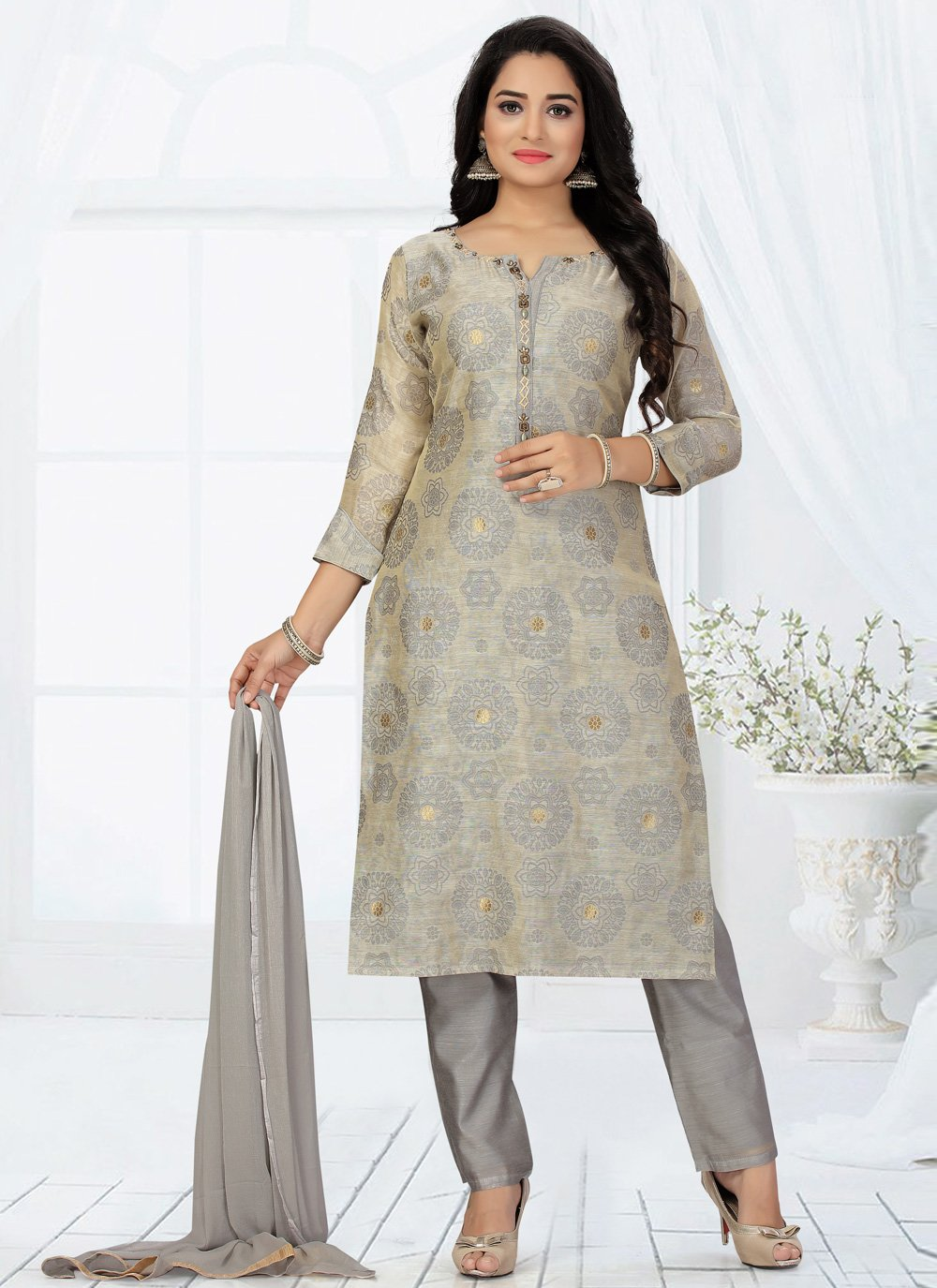 Embroidered Chanderi Readymade Suit in Grey