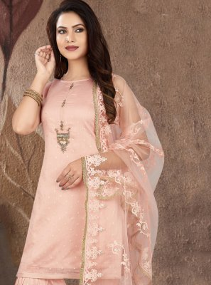 Embroidered Chanderi Readymade Suit in Pink