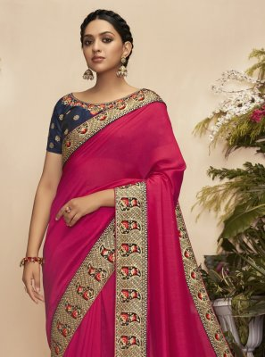 Embroidered Chanderi Traditional Saree