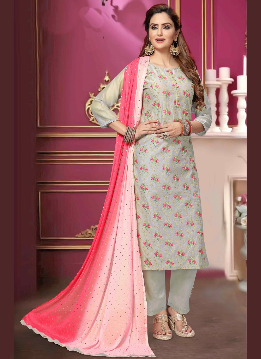 Embroidered Chanderi Trendy Salwar Kameez