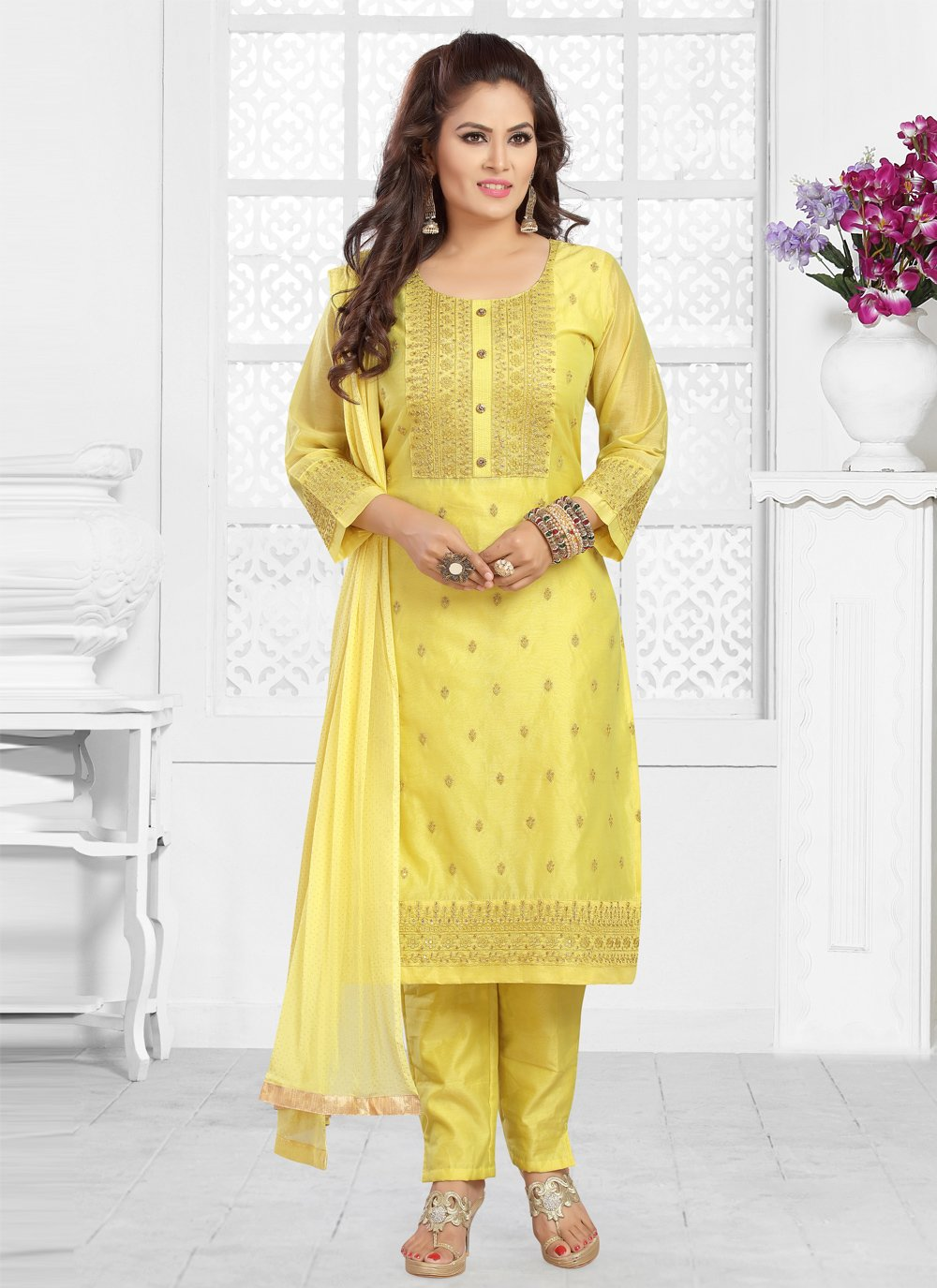 Embroidered Chanderi Yellow Readymade Suit
