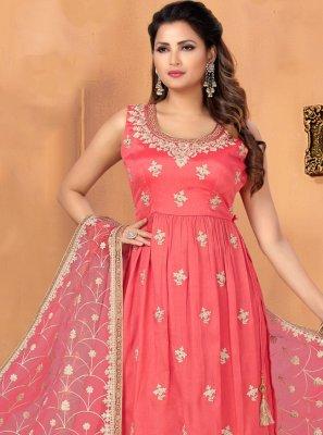 Embroidered Chinon Pink Bollywood Salwar Kameez