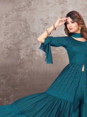 Embroidered Chinon Teal Bollywood Salwar Kameez