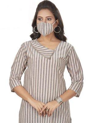 Embroidered Cotton Beige Party Wear Kurti