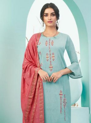 Embroidered Cotton Bollywood Salwar Kameez in Sea Green