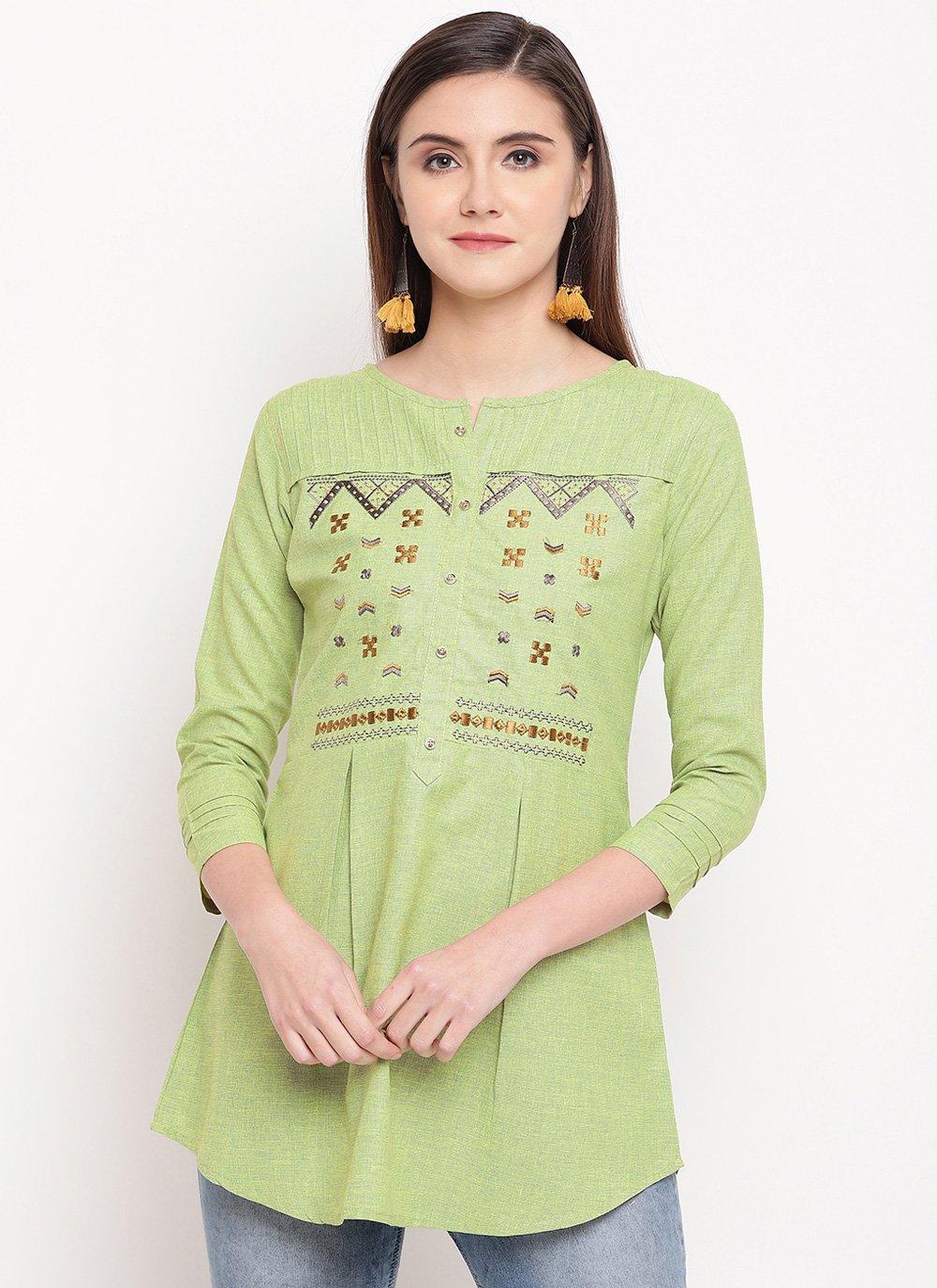 Embroidered Cotton Casual Kurti