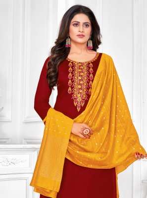 Embroidered Cotton Churidar Designer Suit in Maroon