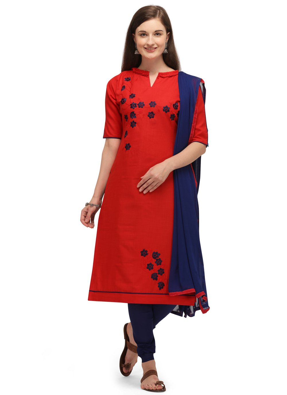 Embroidered Cotton Churidar Designer Suit in Red