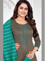 Embroidered Cotton Churidar Salwar Suit