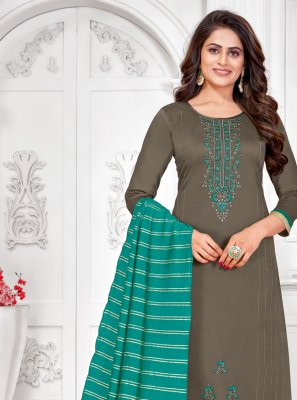 Embroidered Cotton Churidar Salwar Suit