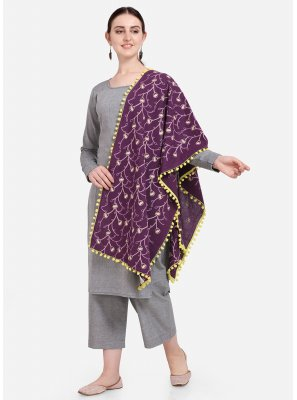 Embroidered Cotton Designer Dupatta in Purple