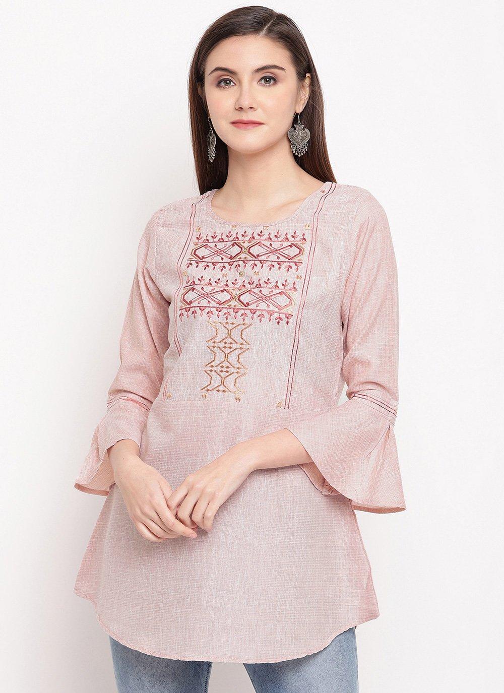 Embroidered Cotton Designer Kurti in Peach