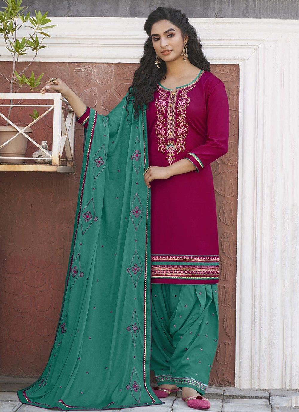 Embroidered Cotton Designer Patiala Suit