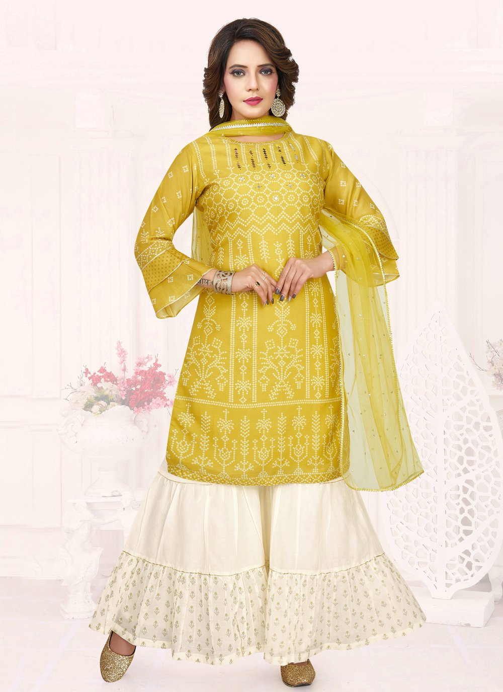 Embroidered Cotton Designer Salwar Kameez in Yellow