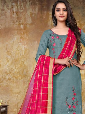 Embroidered Cotton Grey Designer Straight Suit