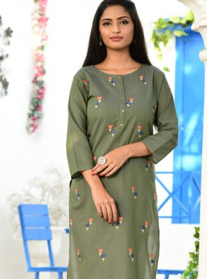 Embroidered Cotton Grey Party Wear Kurti