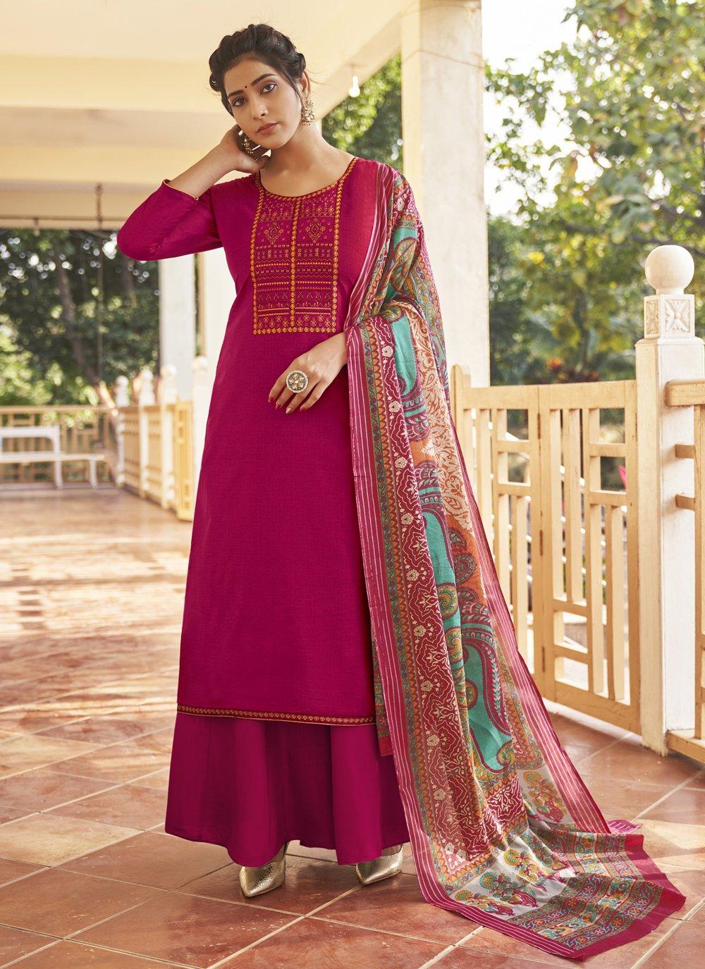 Embroidered Cotton Magenta Designer Pakistani Salwar Suit