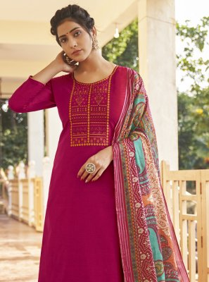 Embroidered Cotton Magenta Designer Pakistani Salwar Suit