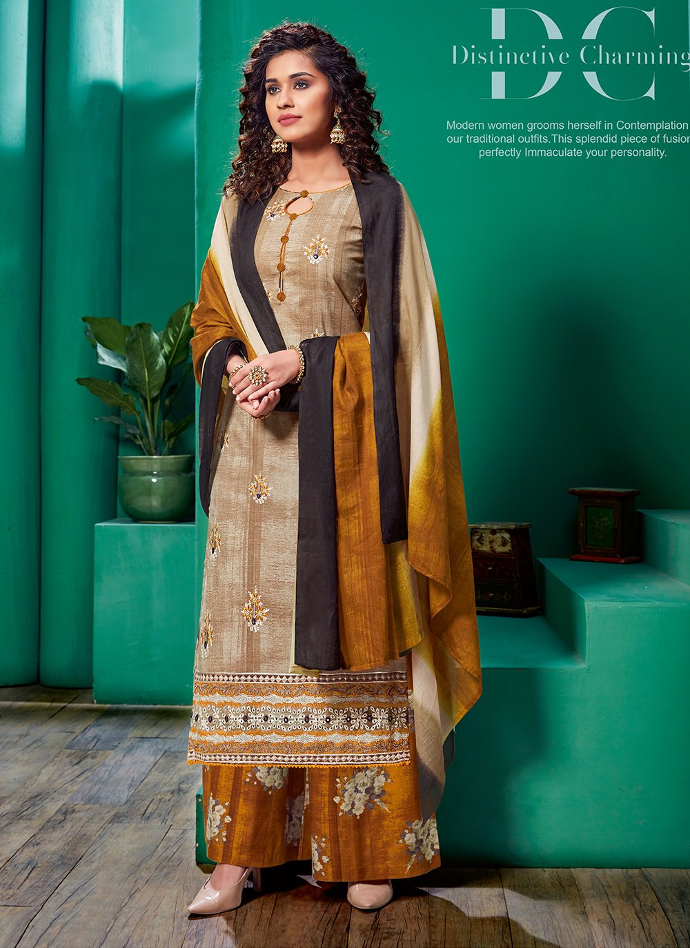 Embroidered Cotton Pakistani Salwar Suit in Beige and Brown