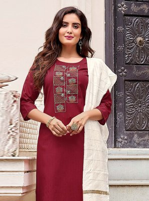 Embroidered Cotton Pant Style Suit