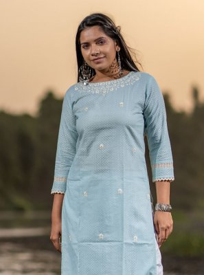 Embroidered Cotton Party Wear Kurti in Aqua Blue