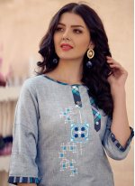 Embroidered Cotton Party Wear Kurti in Grey