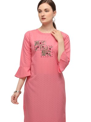Embroidered Cotton Party Wear Kurti in Pink