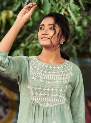 Embroidered Cotton Party Wear Kurti in Sea Green