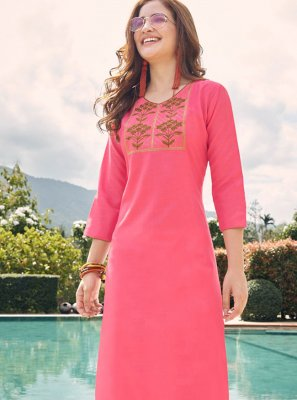 Embroidered Cotton Pink Party Wear Kurti