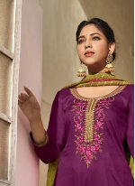 Embroidered Cotton Satin Violet Pant Style Suit