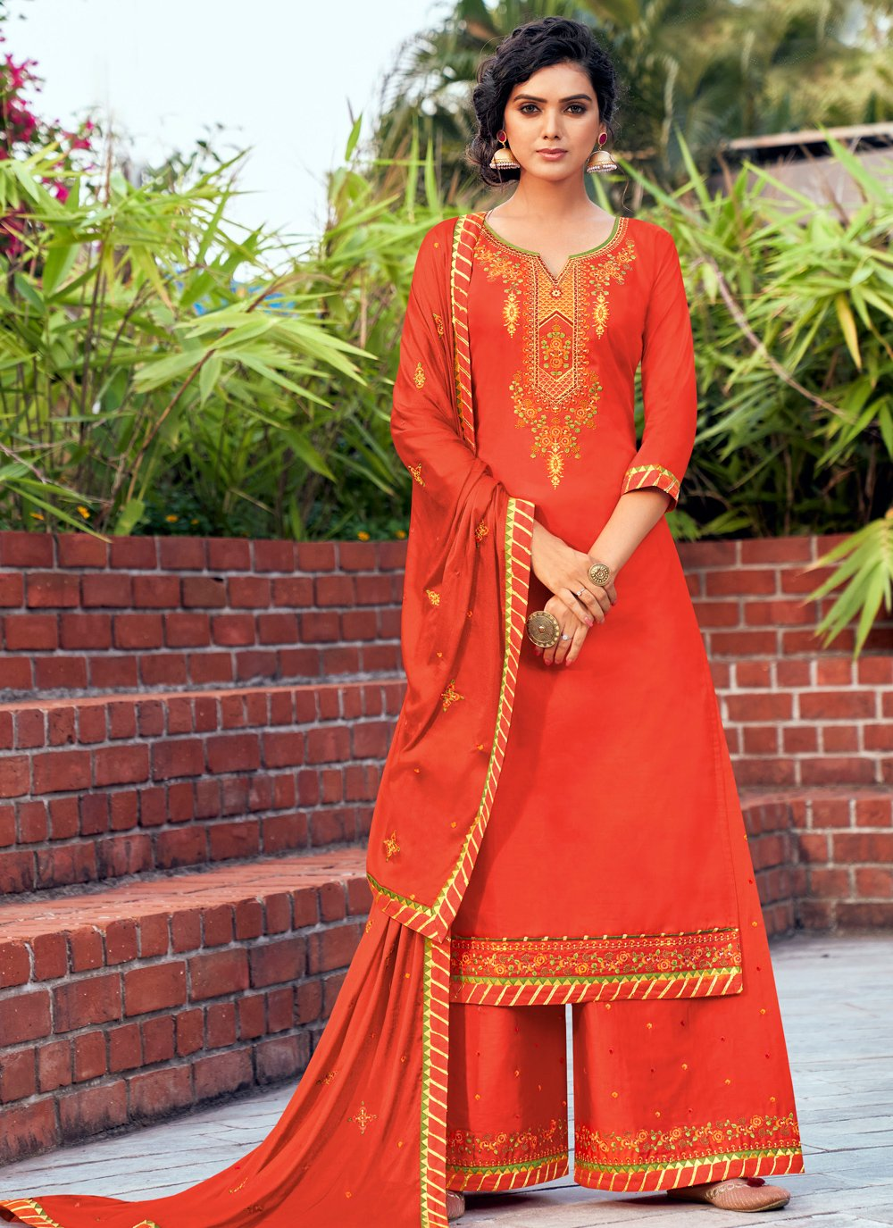 Embroidered Cotton Silk Bollywood Salwar Kameez in Orange