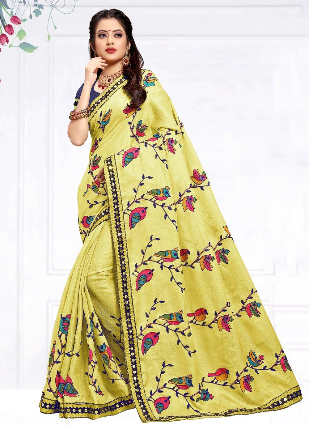 Embroidered Cotton Silk Classic Designer Saree
