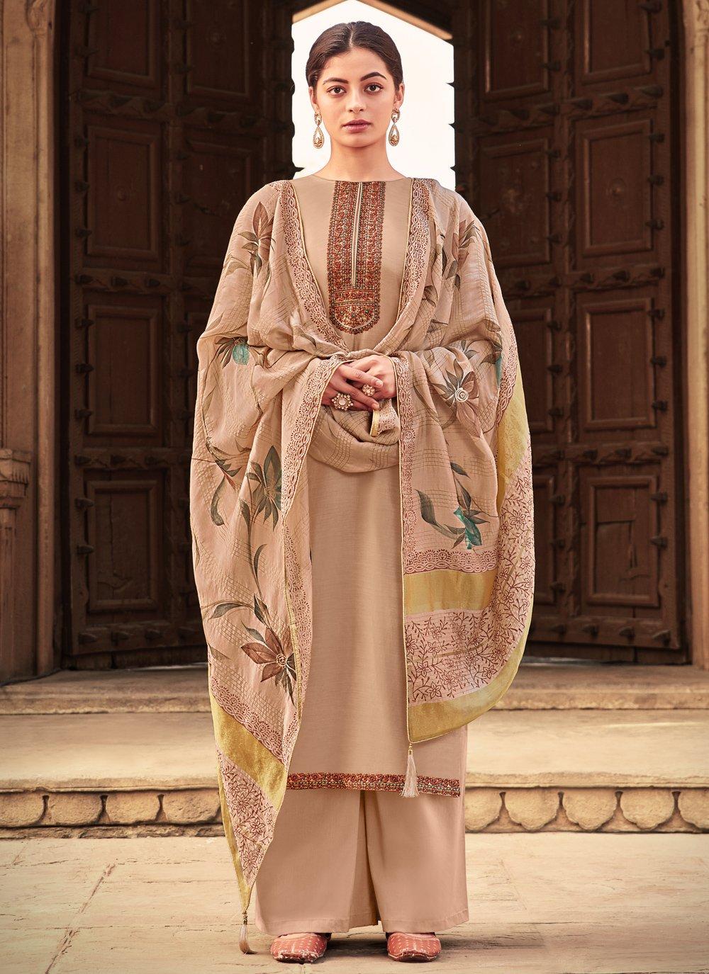 Embroidered Cotton Silk Designer Palazzo Salwar Kameez in Beige