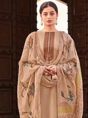 Embroidered Cotton Silk Designer Palazzo Salwar Kameez in Beige