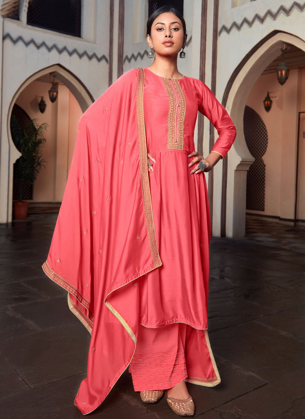 Embroidered Cotton Silk Designer Palazzo Salwar Kameez in Rose Pink