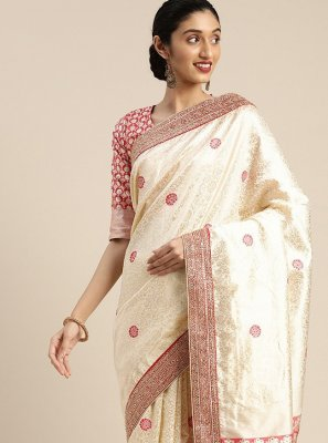 Embroidered Cream Designer Traditional Saree