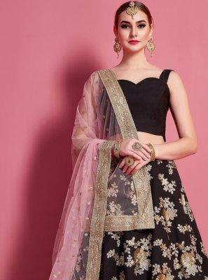 Embroidered Crepe Silk Black A Line Lehenga Choli