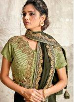 Embroidered Crepe Silk Classic Designer Saree in Green