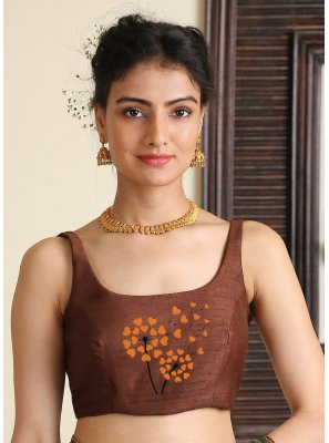 Embroidered Dupion Silk Blouse in Brown