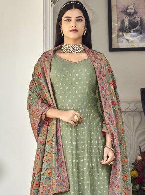 Embroidered Engagement Floor Length Anarkali Salwar Suit