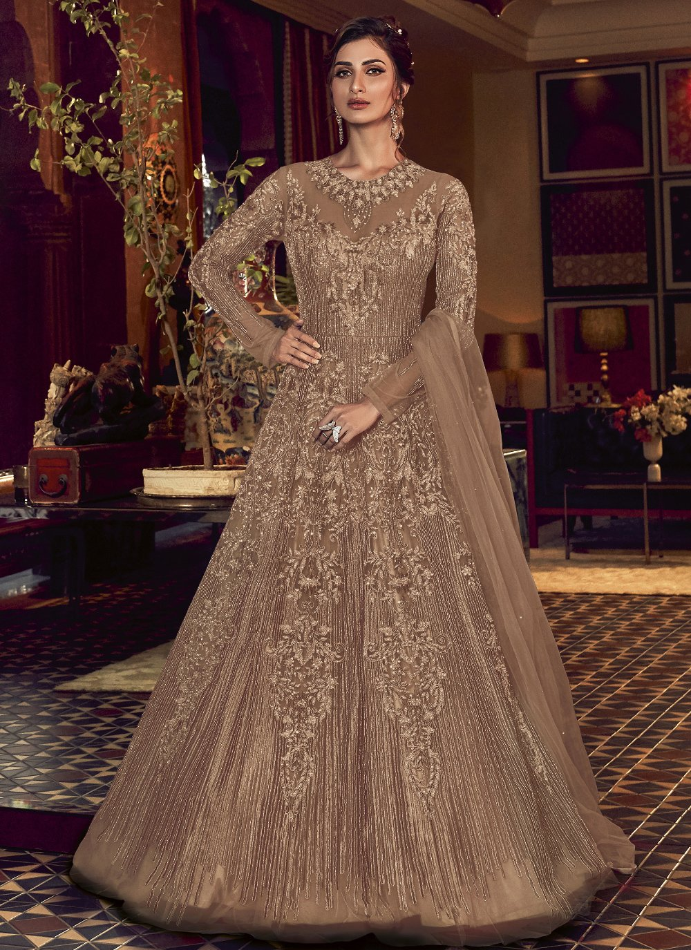 Embroidered Engagement Floor Length Anarkali Suit