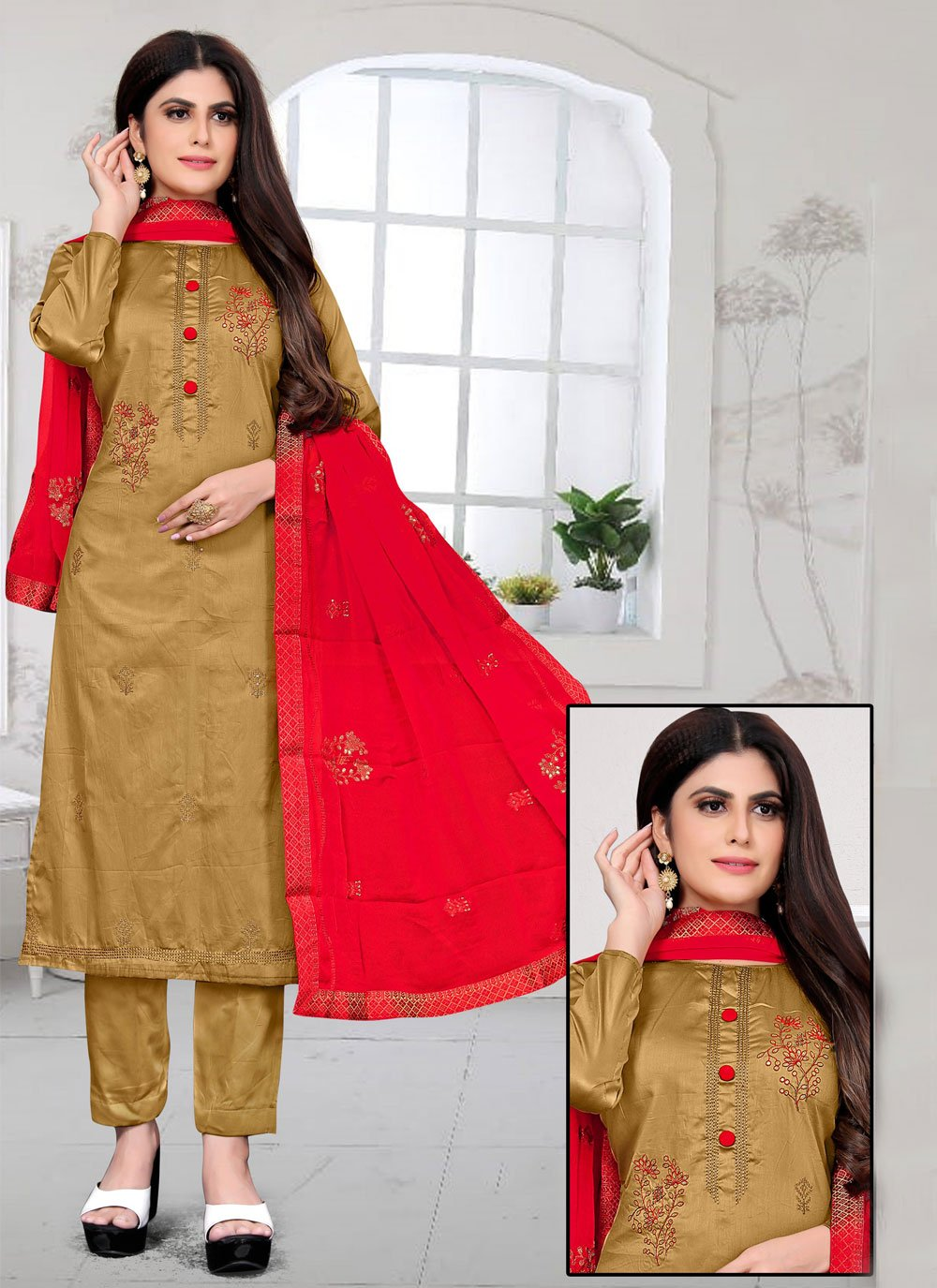 Embroidered Fancy Fabric Brown Pant Style Suit