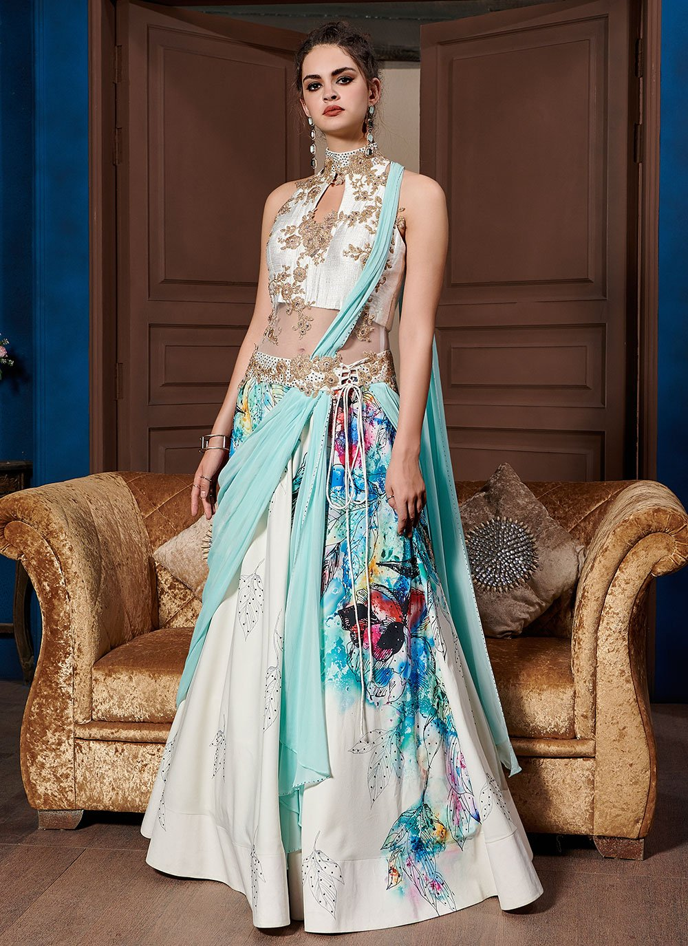 Embroidered Fancy Fabric Designer Gown