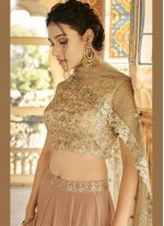 Embroidered Fancy Fabric Lehenga Choli in Brown