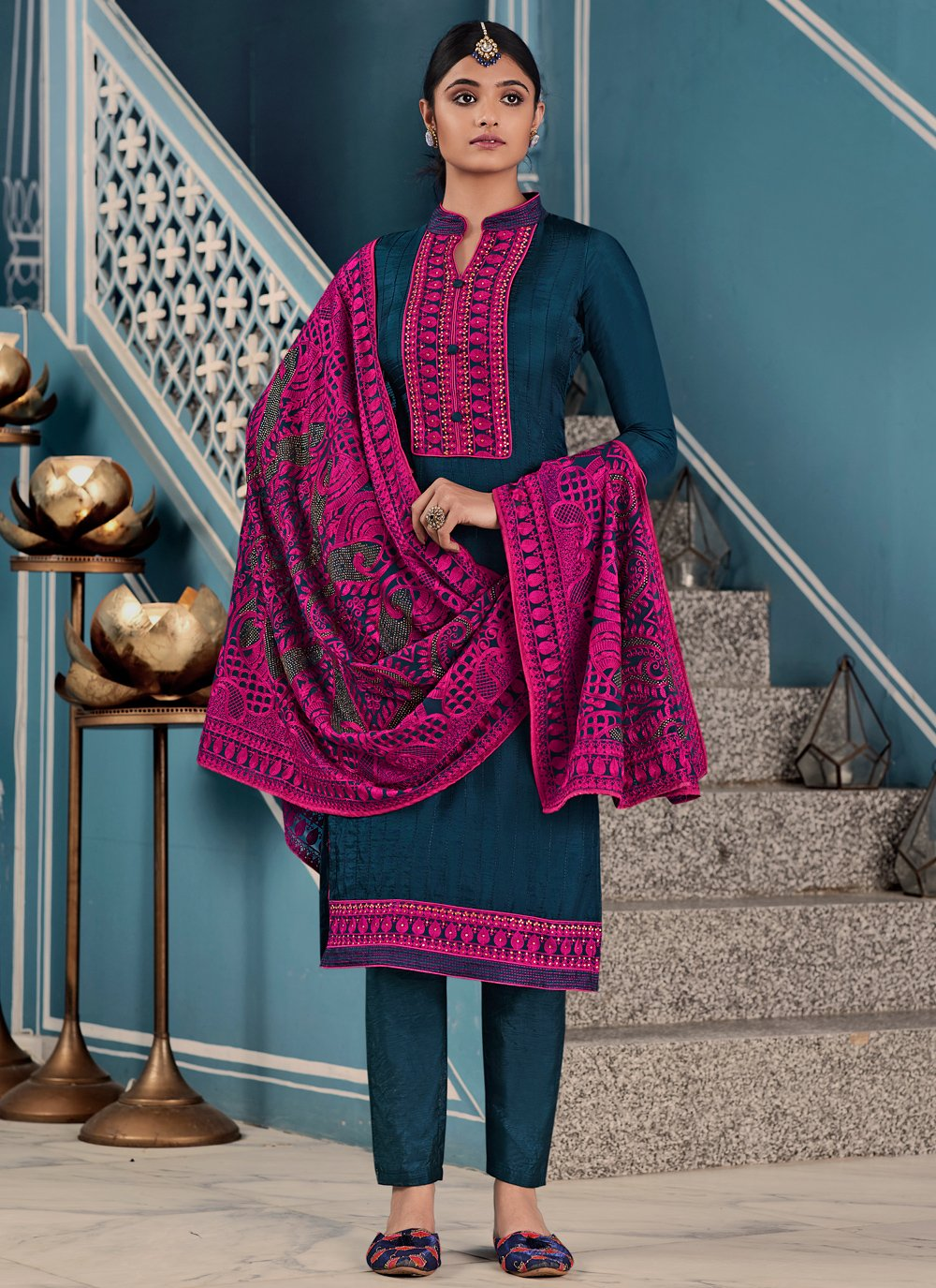 Embroidered Fancy Fabric Pant Style Suit