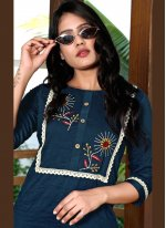 Embroidered Fancy Fabric Party Wear Kurti