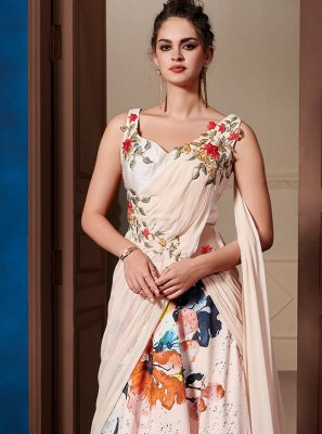 Embroidered Fancy Fabric Pink Designer Gown