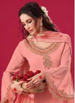 Embroidered Fancy Fabric Pink Designer Straight Suit