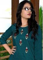 Embroidered Fancy Fabric Rama Party Wear Kurti